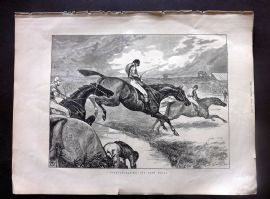 The Graphic 1872 Antique Print. Steeplechasing - The Last Brook. Horse Racing